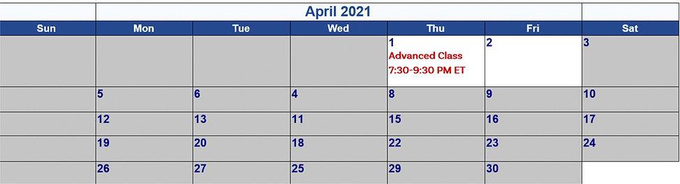 4 - April 2021 Calander for 8-Week Dev P