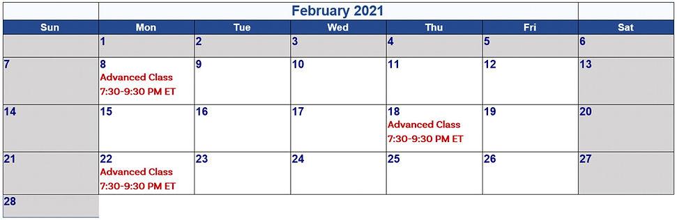 Feb 2021 Calander for 8-Week Dev Program