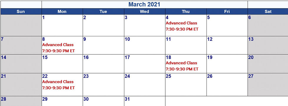 3 - March 2021 Calander for 8-Week Dev P