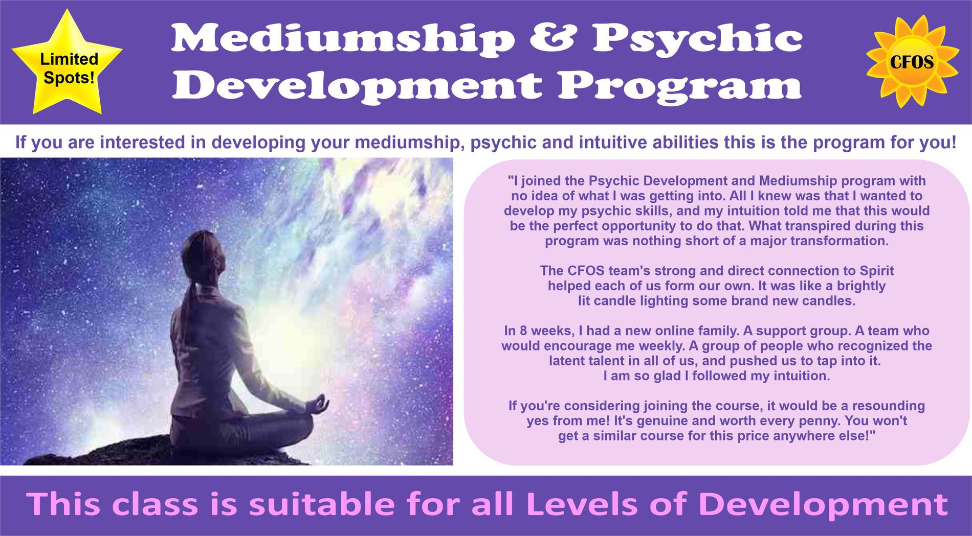 Mediumship & Psychic Development Program 8-Weeks