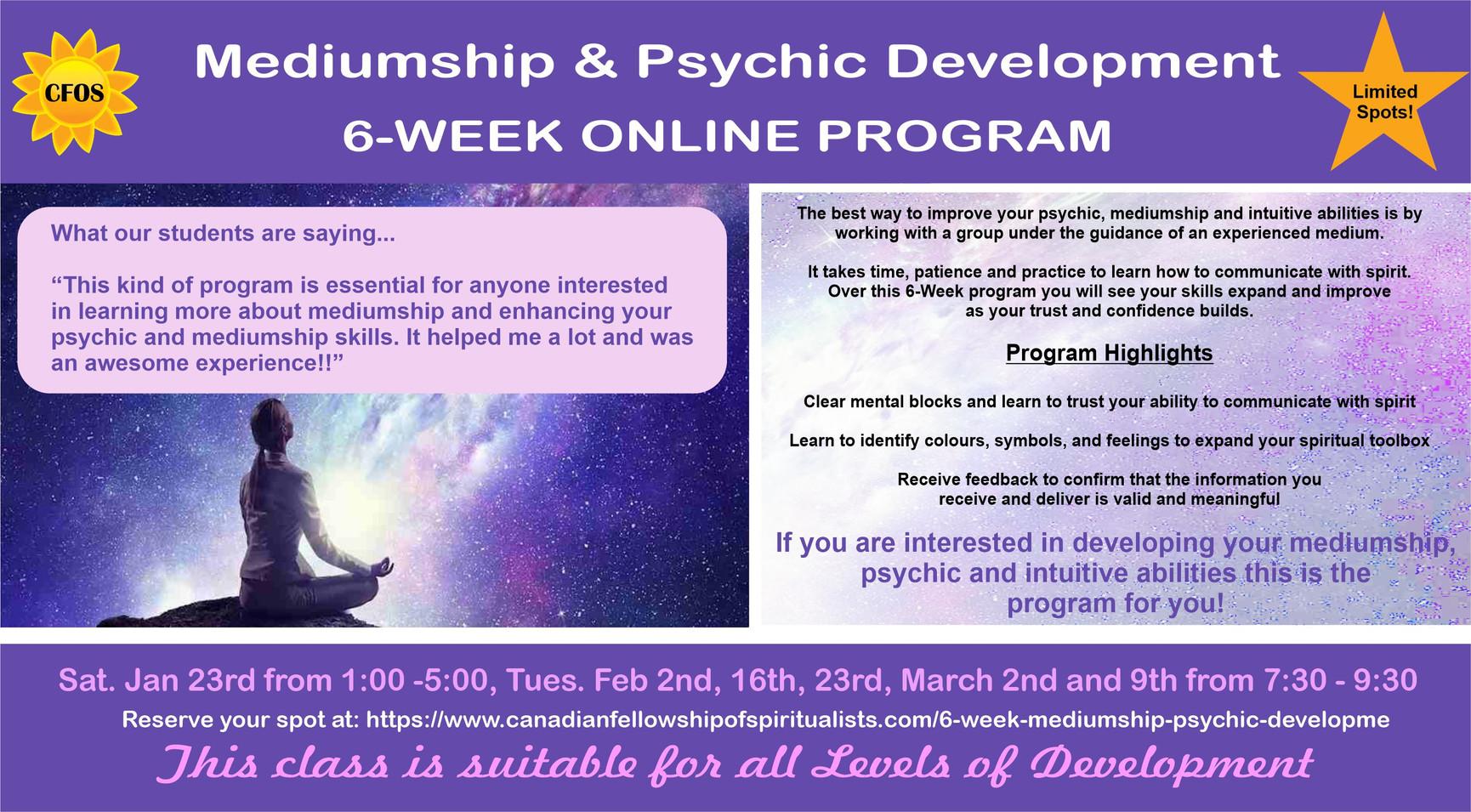 6 week Mediumship & Pyshic Development program