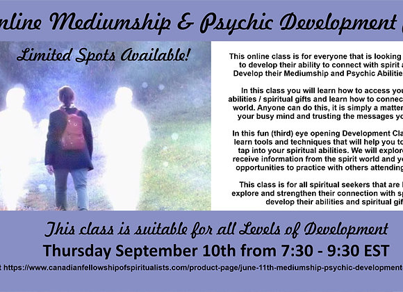 Sept. 10th Intro to Mediumship & Psychic Development Online Class