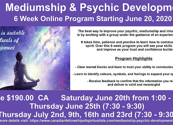 Mediumship / Psychic Development 6 Week Program