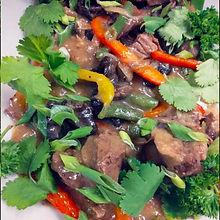Мраморная говядина с овощами