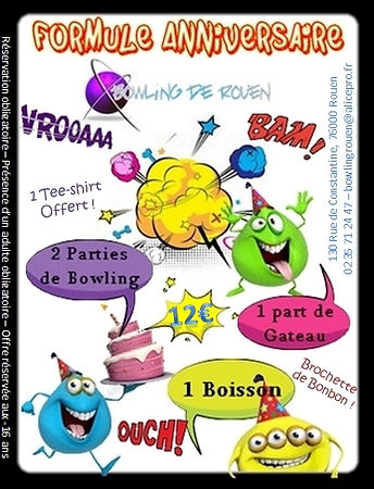 Formule anniversaire bowling