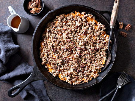 Sweet Potato Casserole with Bourbon Pecan Crumble