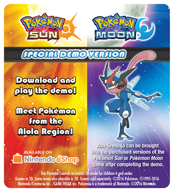 Recive Ash-Greninja When You Complete Pokémon Sun and Pokémon Moon Special Demo