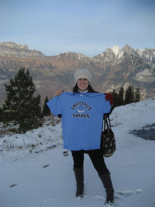 Sharks T shirt in the Alps
