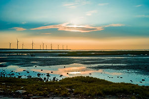 풍력 터빈의 Sillouette