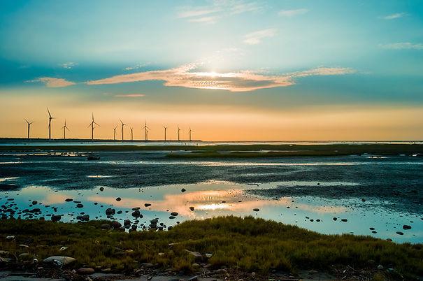 Sillouette der Windturbine