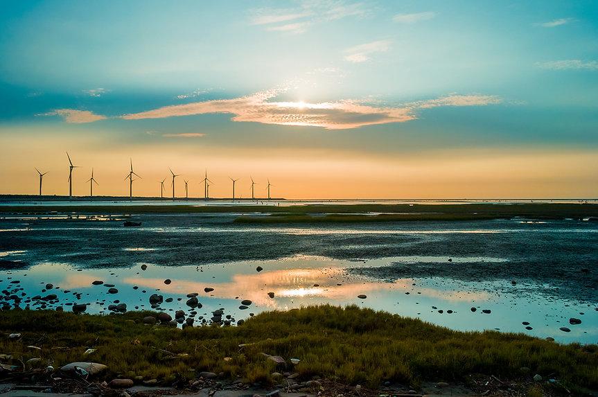 Sillouette af vindmølle
