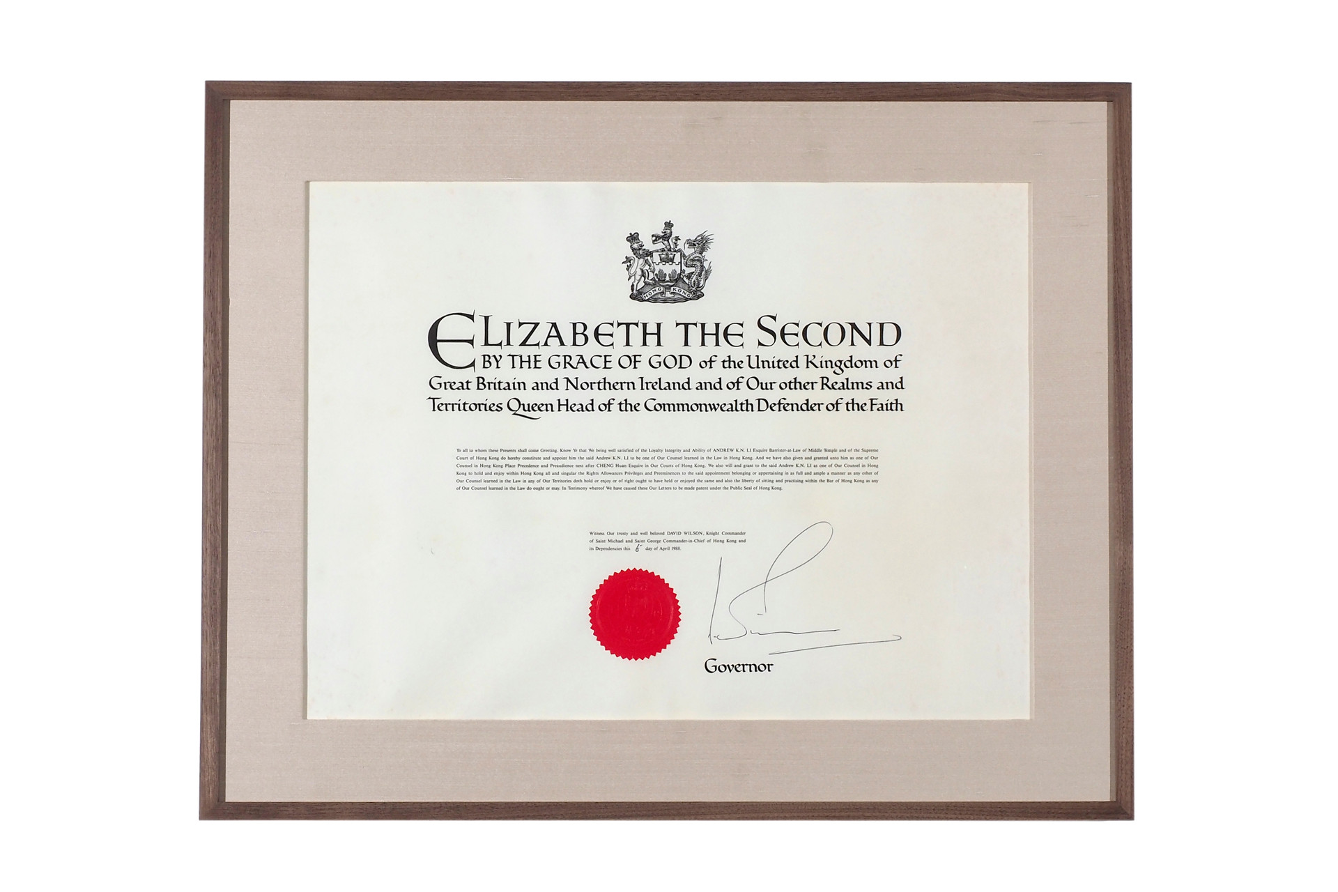 Instrument of Appointment by Letters Patent
