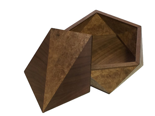 Pentagonal Box Walnut and Walnut Burl