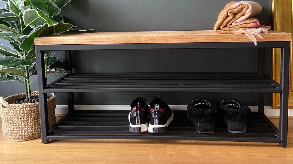 Stunning handmade  bench seat with shoe storage.