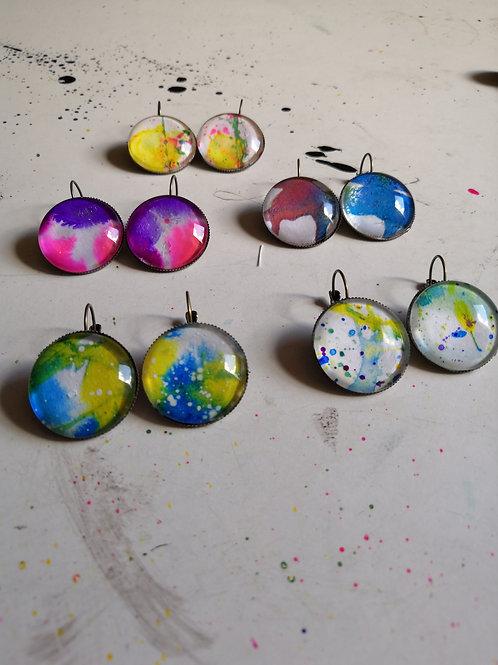 Ink Splatter Earrings - Round