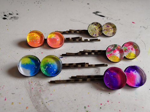 Ink Splatter Hair Pins