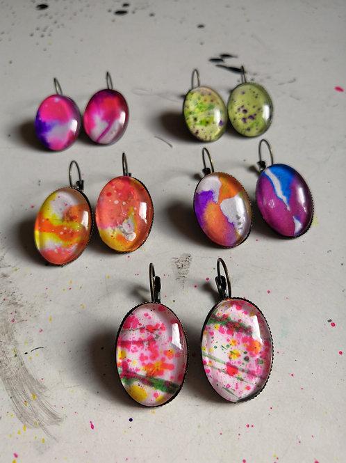 Ink Splatter Earrings - Oval