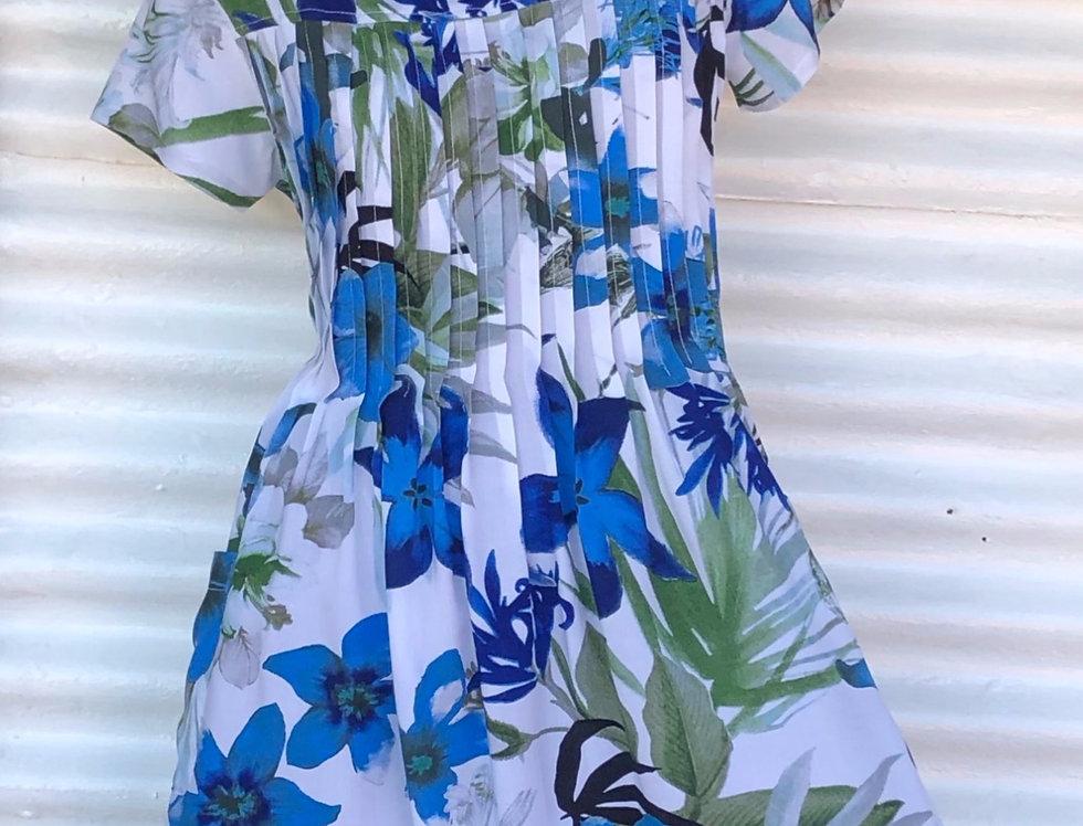 Pintuck Dress -Blue Lillies