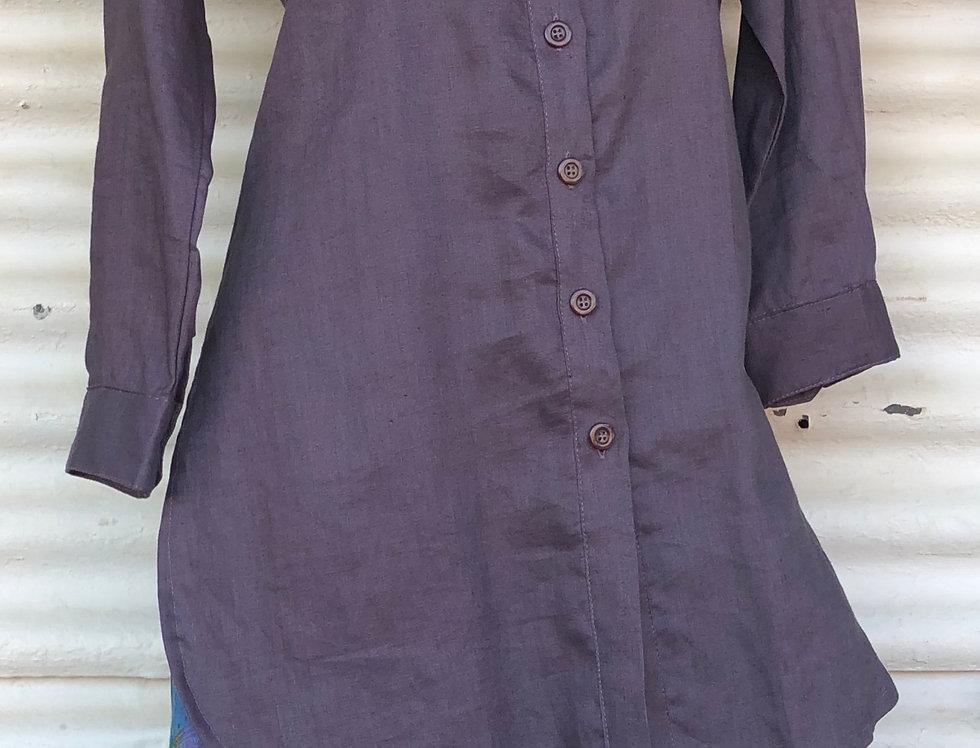 Dench Shirt - Aubergine linen