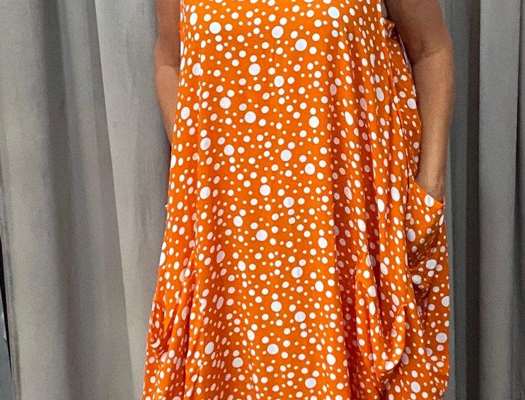 Tulip Dress - Orange Polka Dots