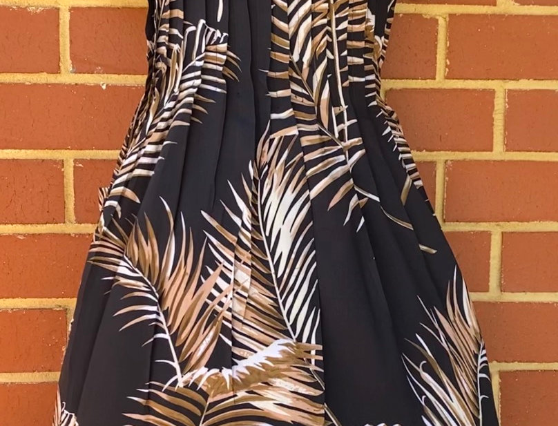 Pintuck Dress - Palm Fronds on Black