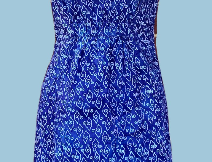 Gathered Dress - Blue on Blue
