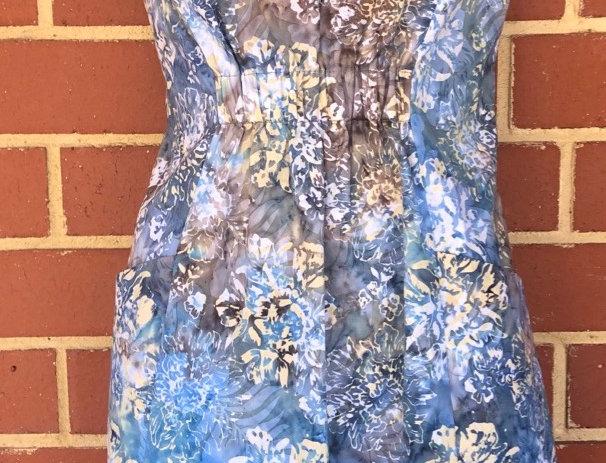 Gathered Dress - Blue Garden