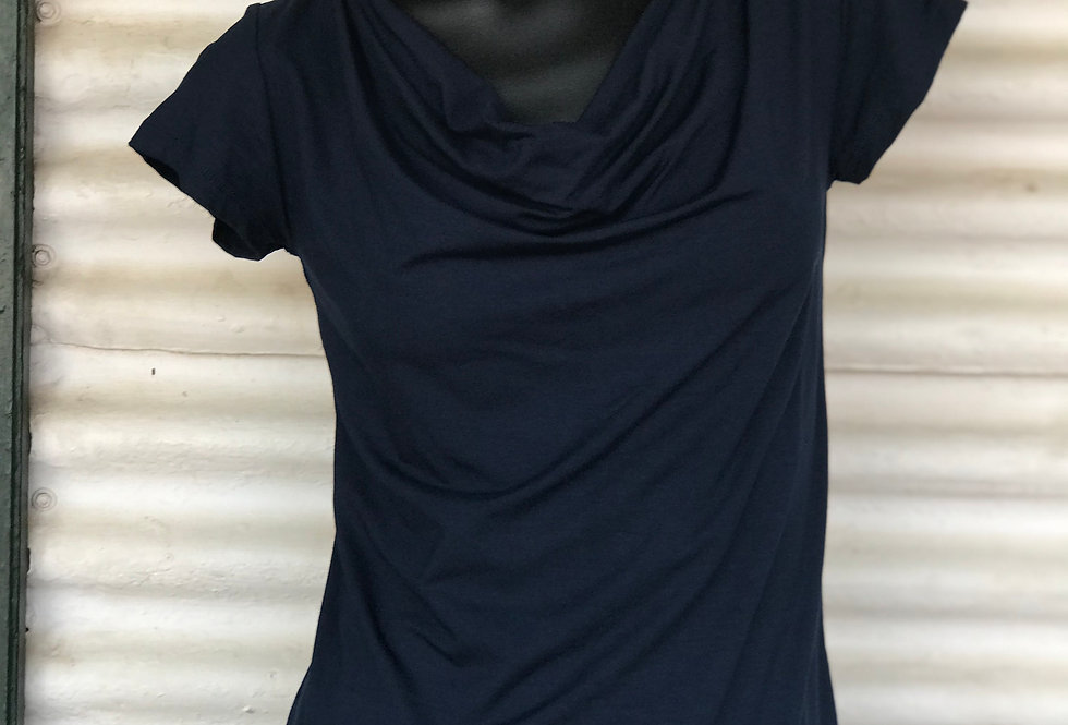 Bamboo Cowl Neck Top - Navy