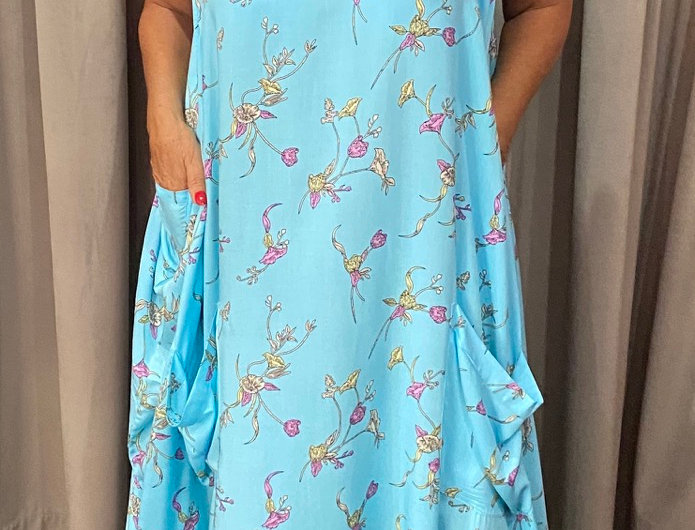 Tulip Dress - Baby Blue Bouquet