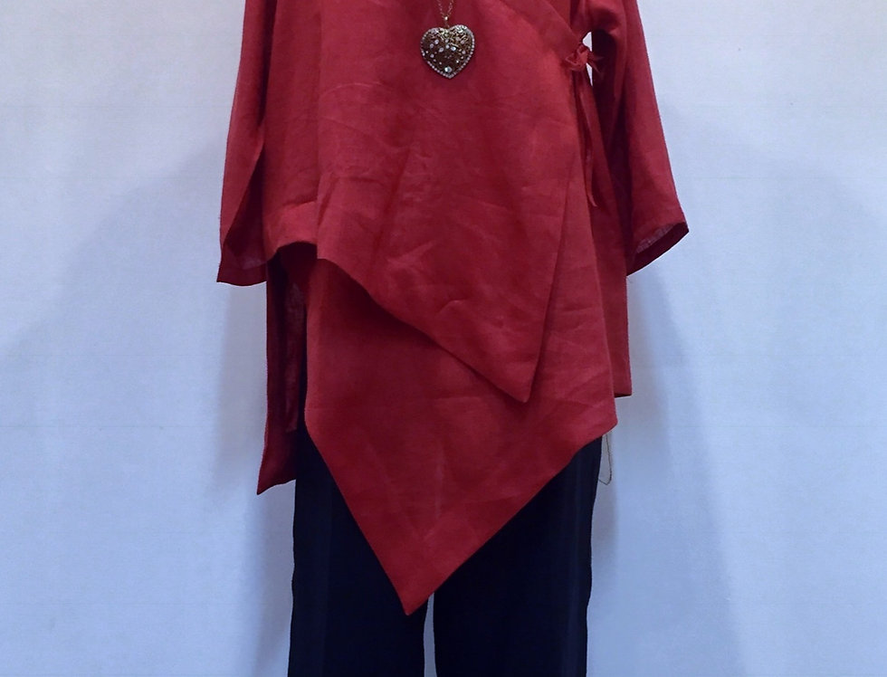 Asymmetrical Red Linen Top/Jacket
