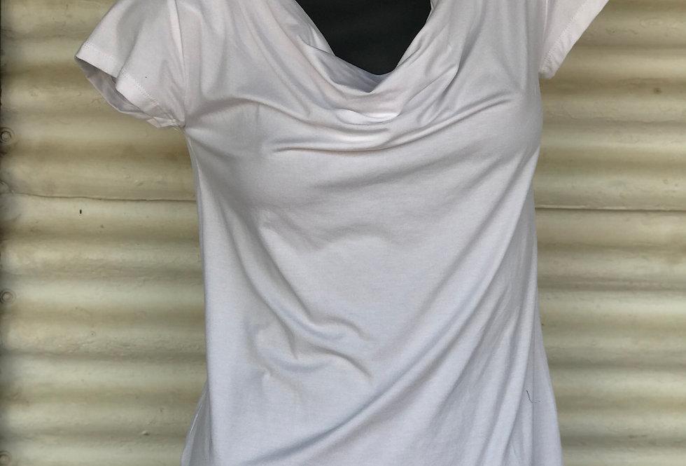 Bamboo Cowl Neck Top - White
