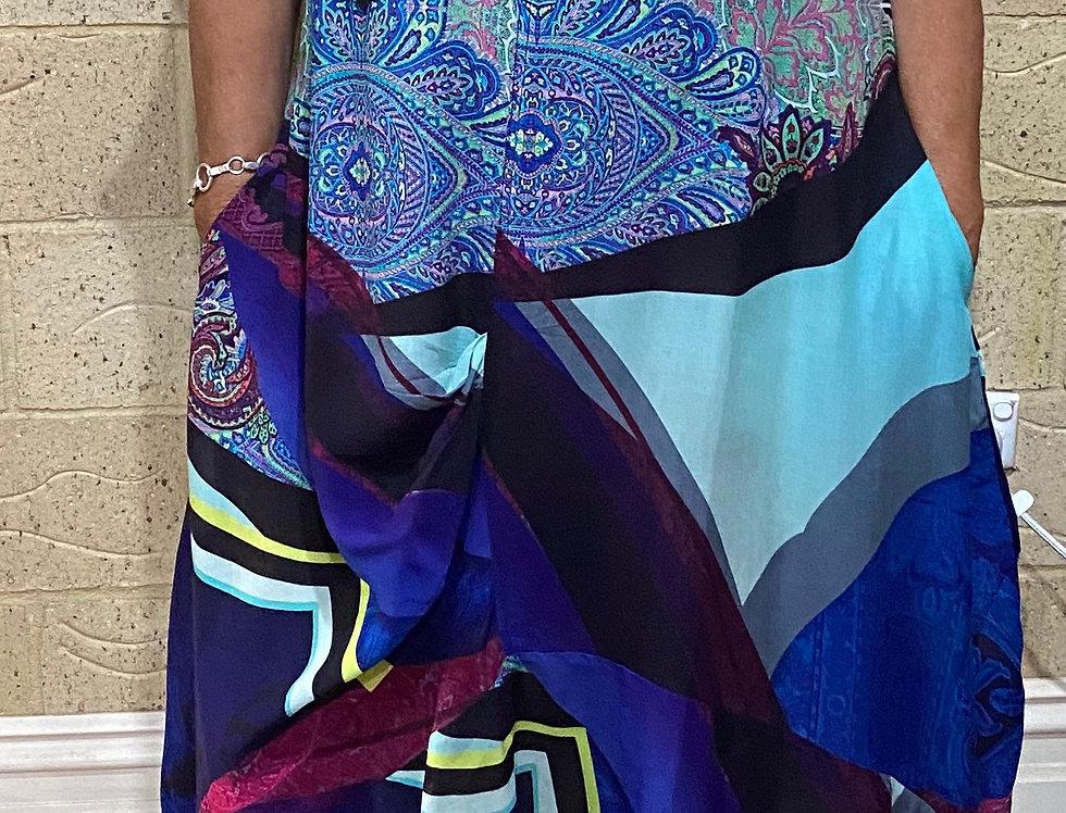 Chandon Dress - Abstract Blues