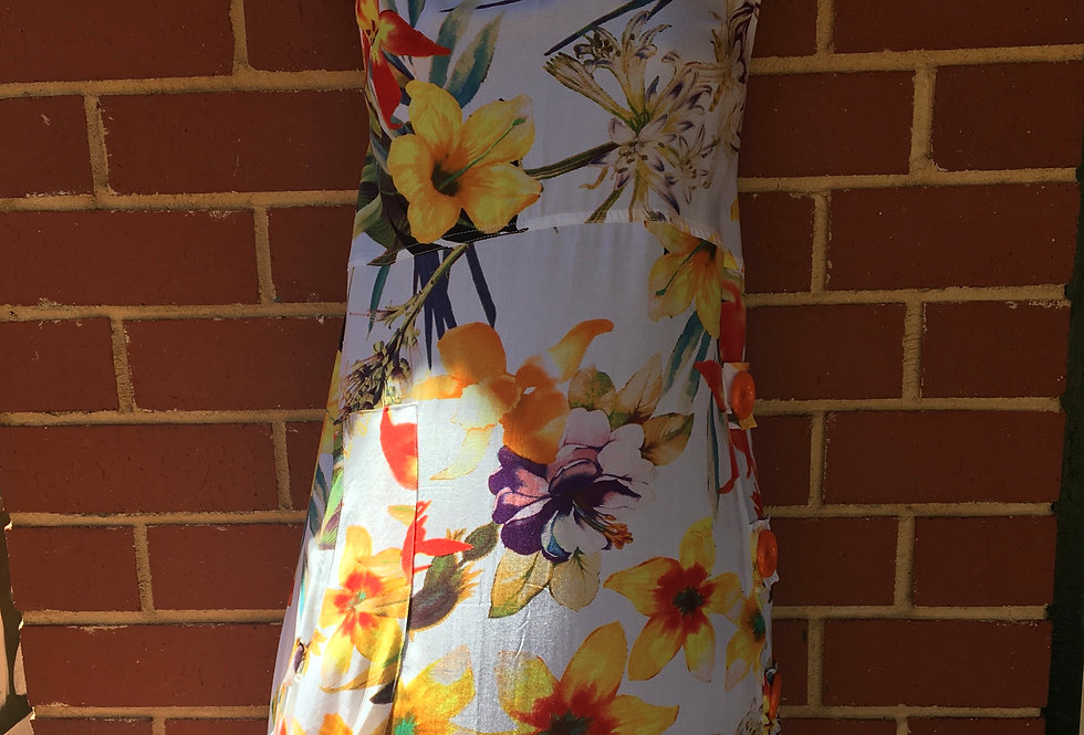 3 Button Dress - Floral on White
