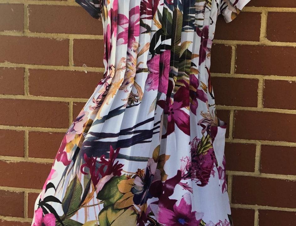 Pintuck Dress - Fuscia Lillies