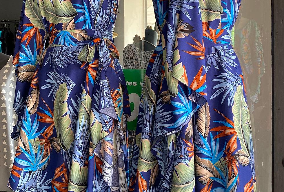 4 Way Angel Dress - Floral on Deep Blue