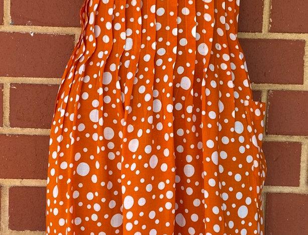 Pintuck Dress - Orange Polka Dots