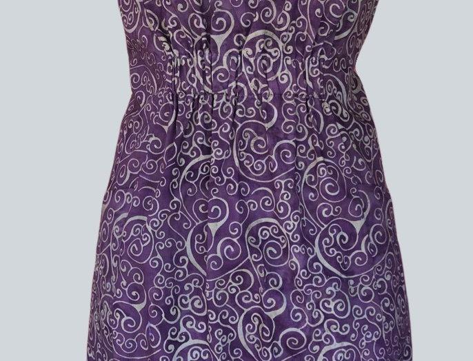 Gathered Dress - Purple & Olive
