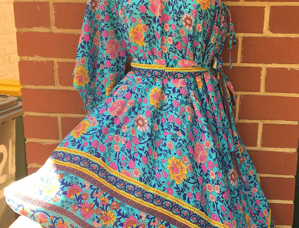4 Way Angel Dress - Floral on Aqua with Border