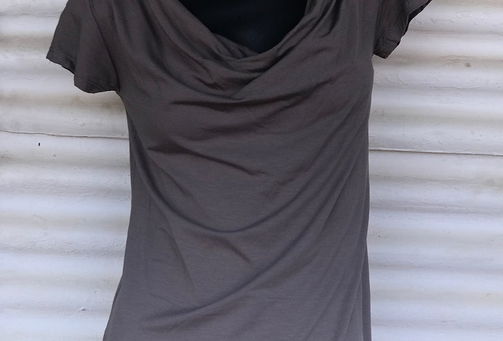 Bamboo Cowl Neck Top - Stone