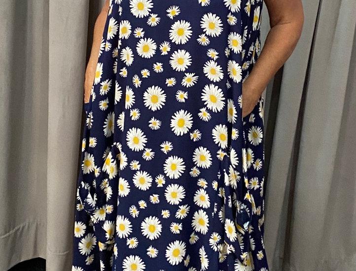 Tulip Dress - Daises on Navy