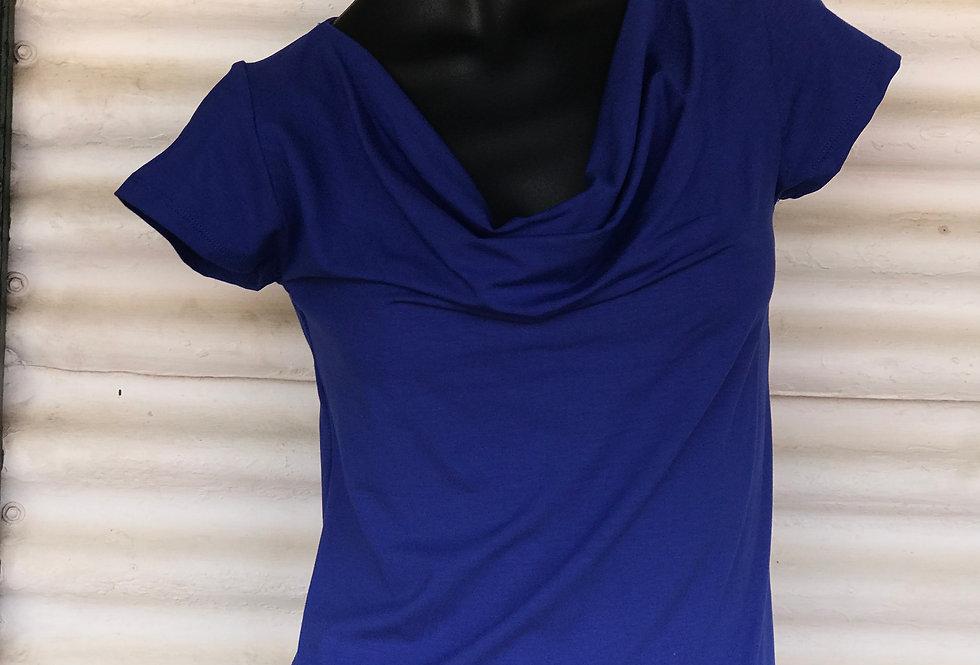 Bamboo Cowl Neck Top - Cobalt Blue