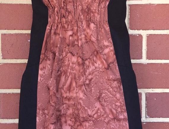 Gathered Dress - Black & Tan