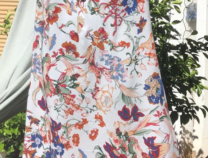Half Moon Maxi Dress - Floral on Cream