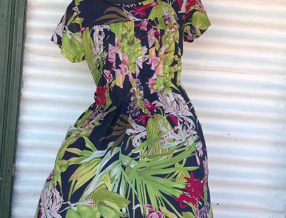 Pintuck Dress - Navy Floral