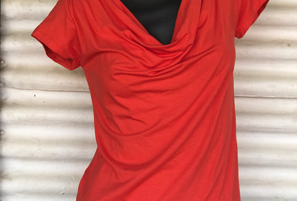 Bamboo Cowl Neck Top - Orange