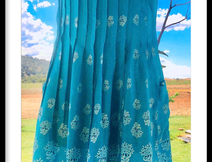Pintuck Dress - Snowflakes on Aqua