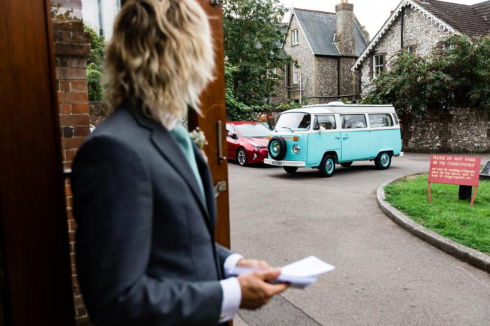 bride arriving in VW camper