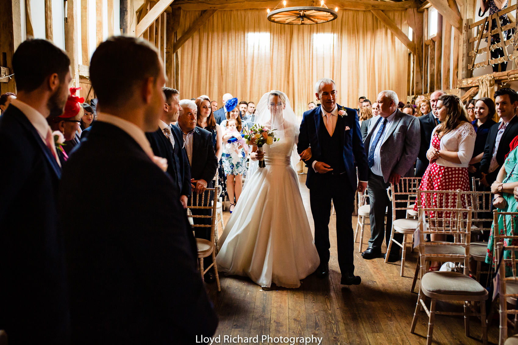 groom seeing the bride for the first time at Pitt Hall Barn