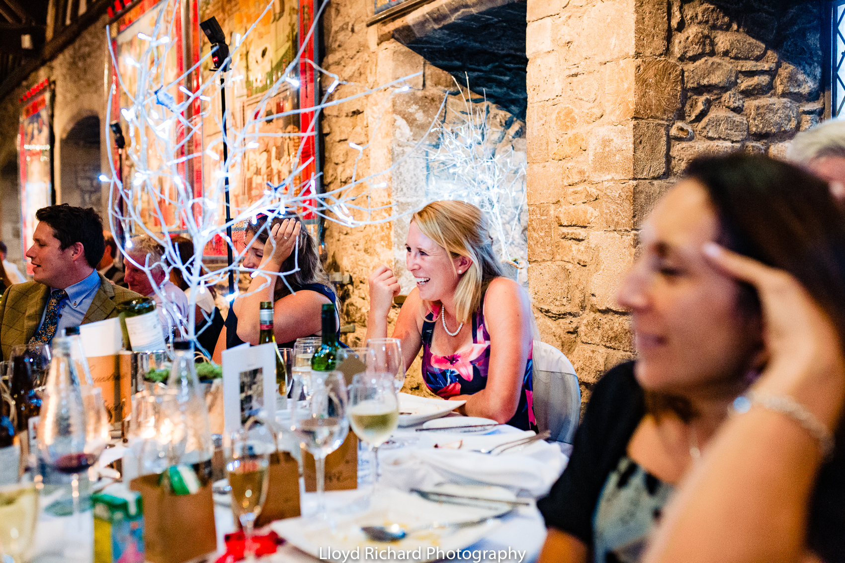 guests laughing at speech at Beaulieu Abbey Domus