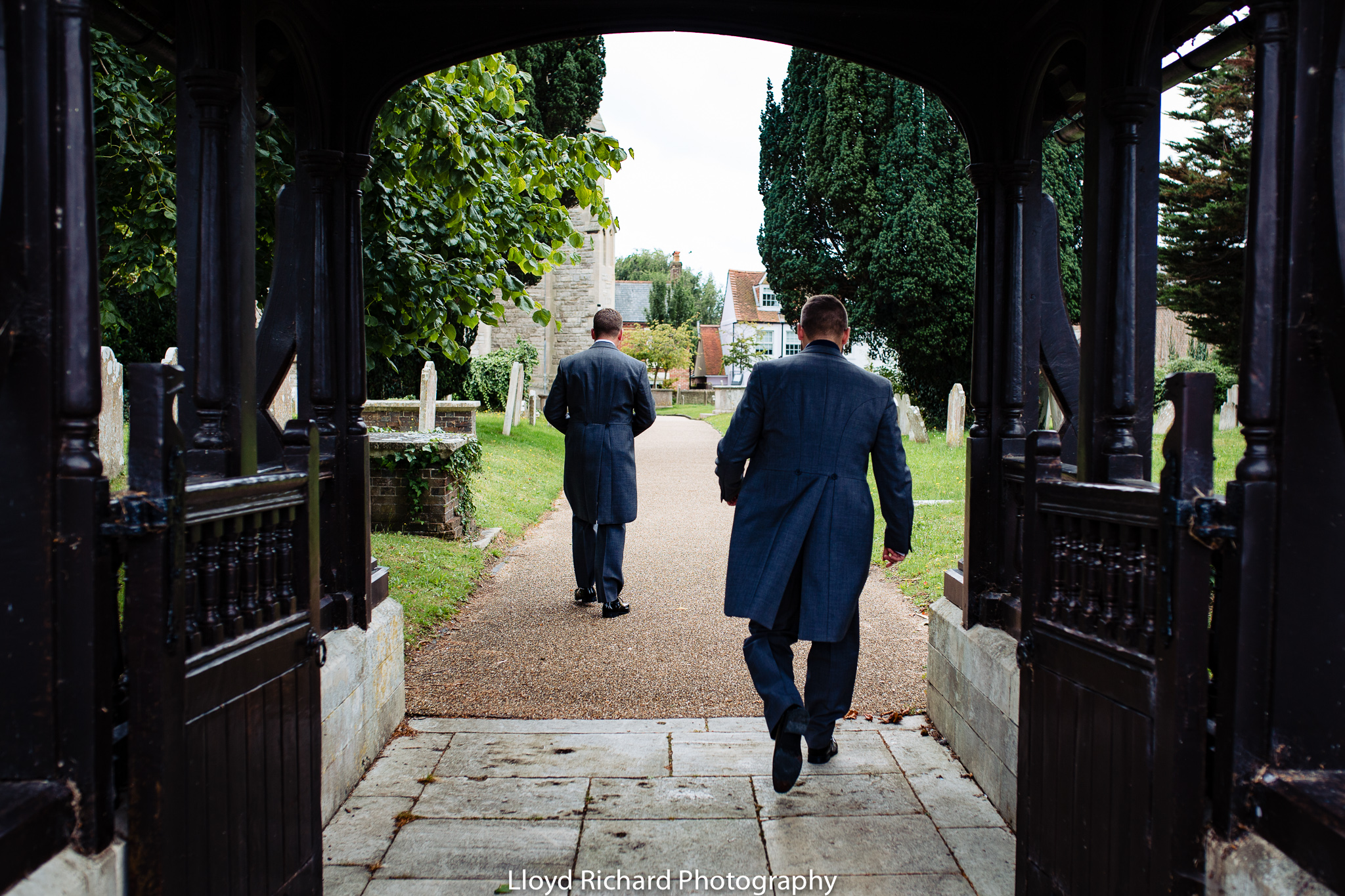 Groom walking to St Mary's church in Gosport